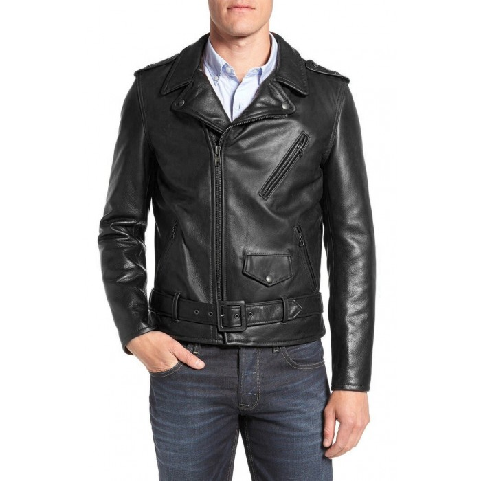 Men's Natural Cowhide Classic Motorcycle Fashion Leather Jacket