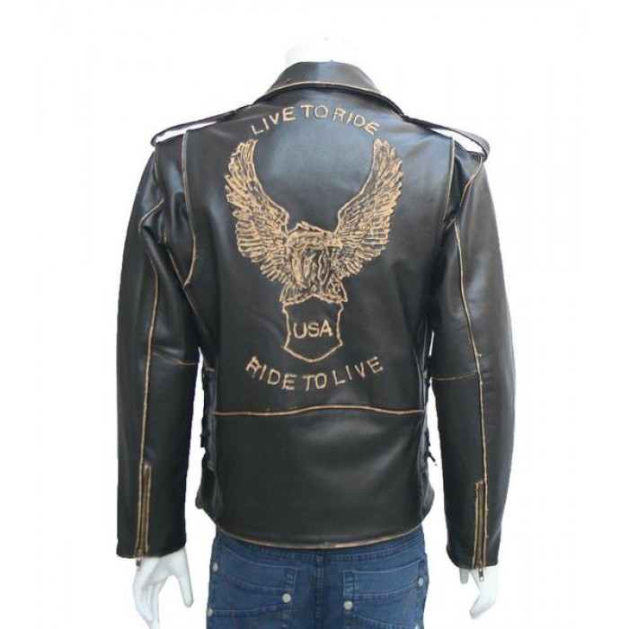 Men's Vintage Retro Style Eagle Leather Jacket