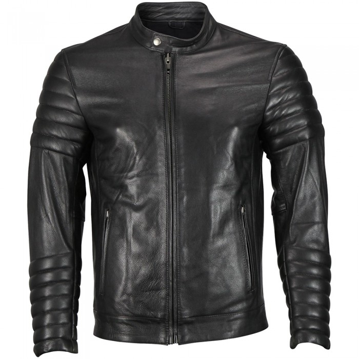 Men's Moto Snap Collar Biker Fashion Leather  jacket