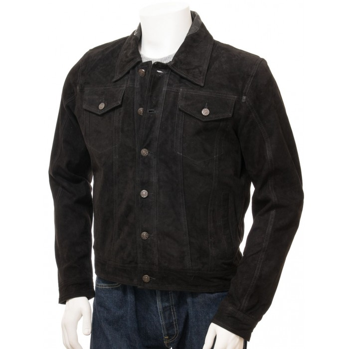 Men's Black Suede Denim Trucker Leather Jacket