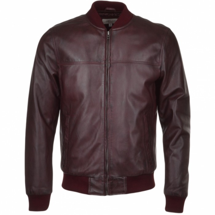 Men's Burgundy Sheepskin Bomber Leather Jacket