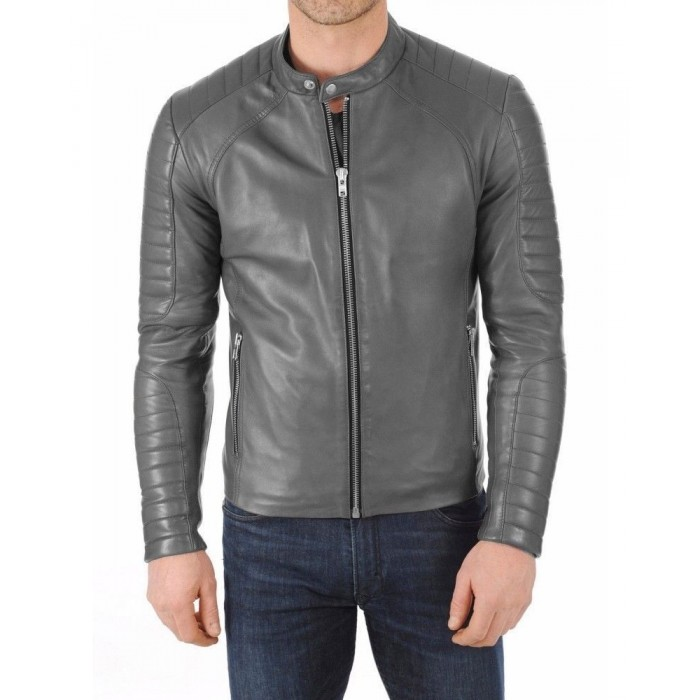 Men's Gray Lambskin Slimfit Moto Fashion Leather Jacket