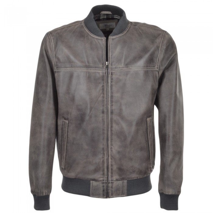 Men's Light Grey Waxed Sheepskin Bomber Leather Jacket