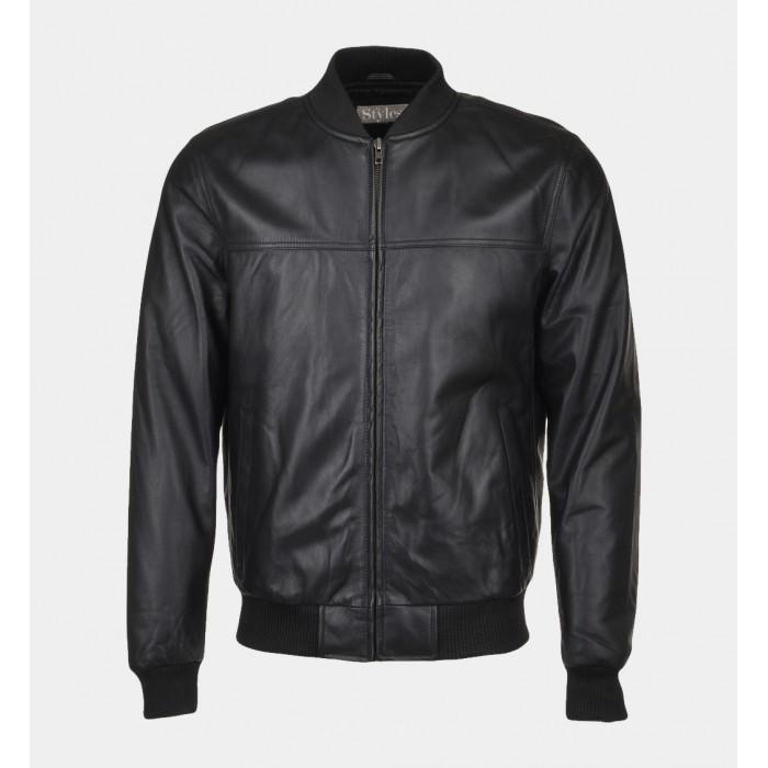 32c05747d86 Men s Black Shiny Lamb Leather Bomber Jacket