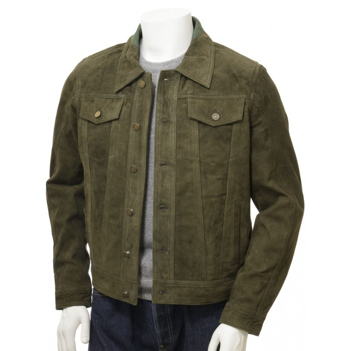 Men's Olive Suede Trucker Jeans Leather Jacket