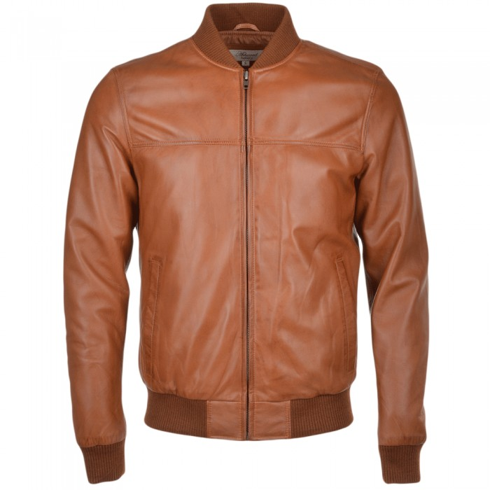 Men's Tan Sheepskin Bomber Leather Jacket