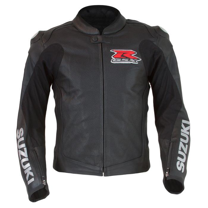 SUZUKI GSX-R Men's Custom Motorbike Racing Motorcycle Black Leather Jacket