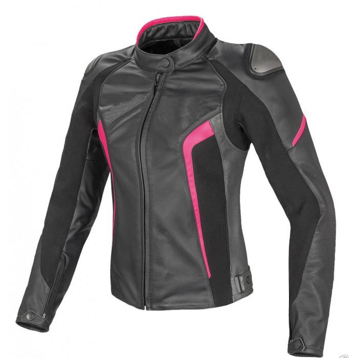 Women Racing Motorcycle Cowhide Motorbike Leather Jacket