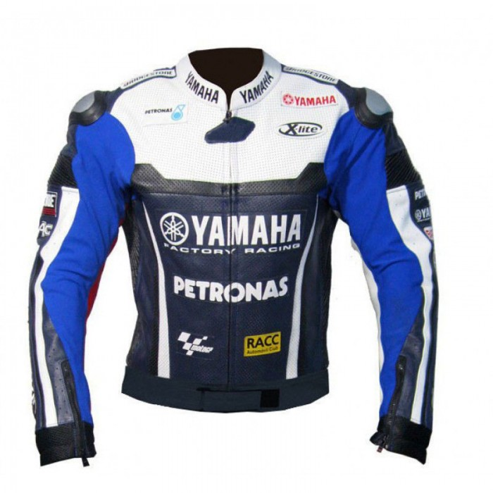 Men's Yamaha Blue Petronas Motorbike Leather Jacket