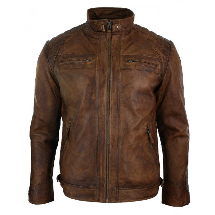 Men's Retro Style Zipped Biker Jacket Real Leather Soft Brown Waxed Sheepskin Casual Leather Jacket