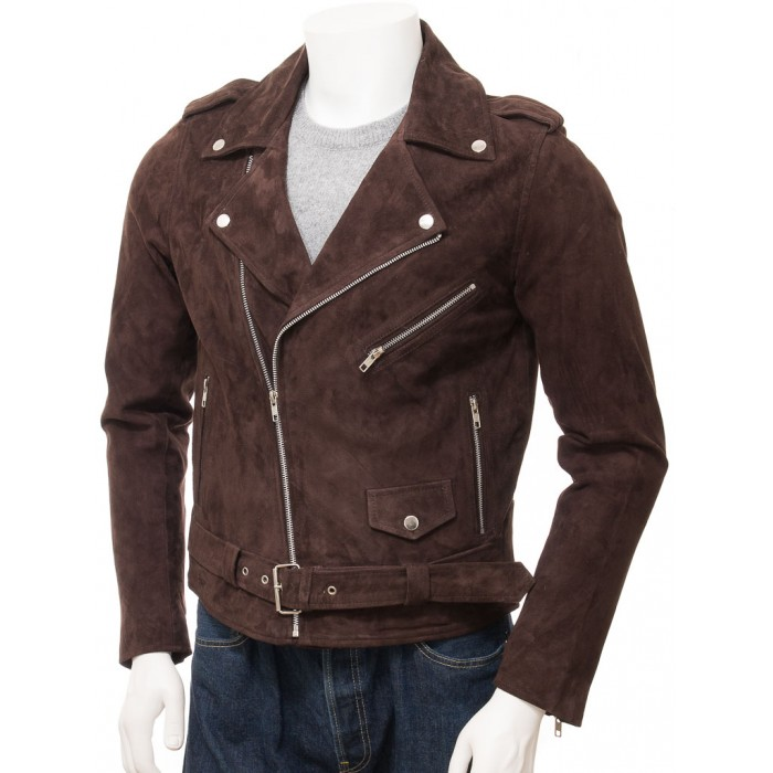 Men's Brown Suede Biker Motorcycle Jacket