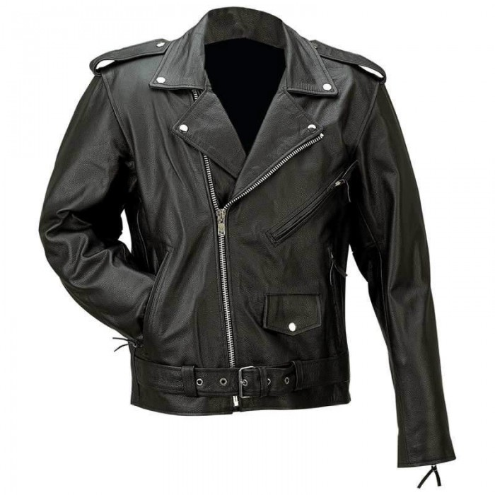 Men's Solid Buffalo Leather Motorcycle Jacket