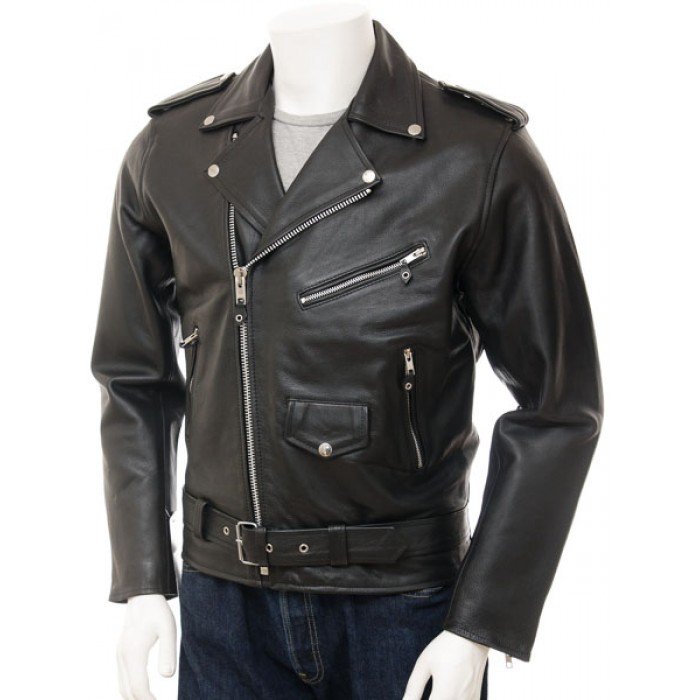 Classic Motorcycle Leather Biker Jacket