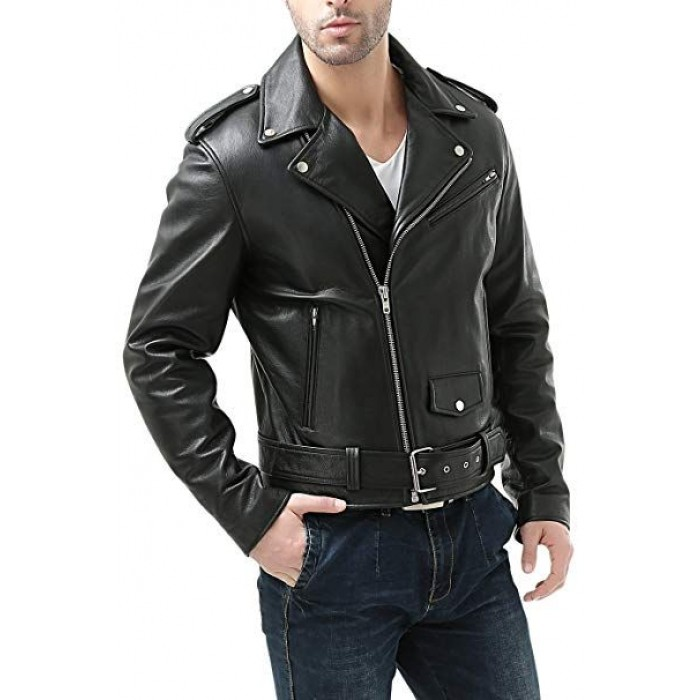 Men's Classic Natural Cowhide Motorcycle Leather Jacket