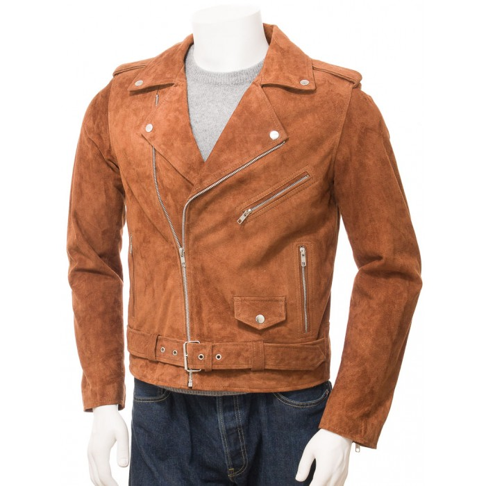 Men's Tan Suede Leather Biker Jacket