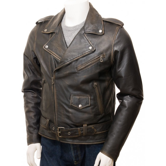 Men's Vintage Leather Biker Jacket