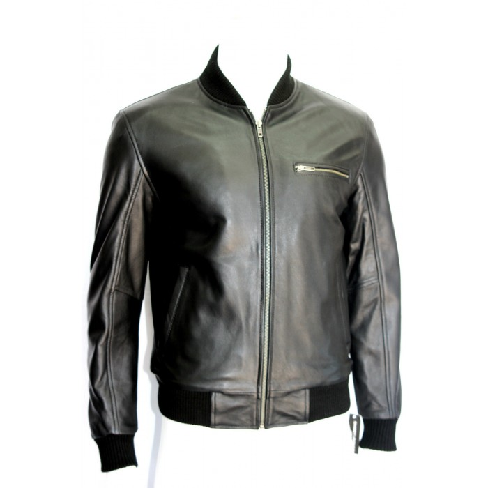 Men's Black Sheepskin Celebrity Bomber Style Leather Jacket