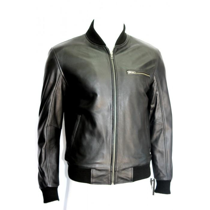 Men's Black Sheepskin Celebrity Bomber Style Leather Jacket