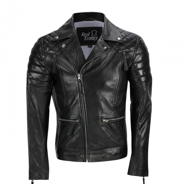 Mens Black Sheep Leather Vintage Style Biker Fashion Casual Leather Jacket