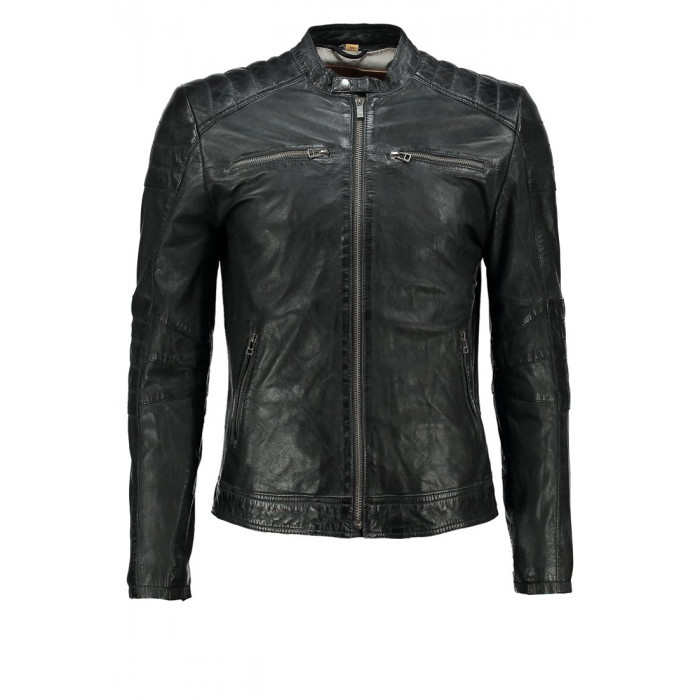 Men's Black Washed Waxy Sheepskin Padded Shoulder Fashion Leather Jacket
