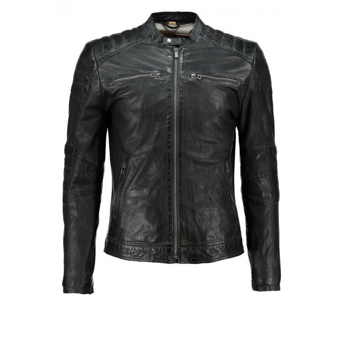 Men's Black Washed Waxy Sheepskin Padded Shoulder Fashion Leather Jacket