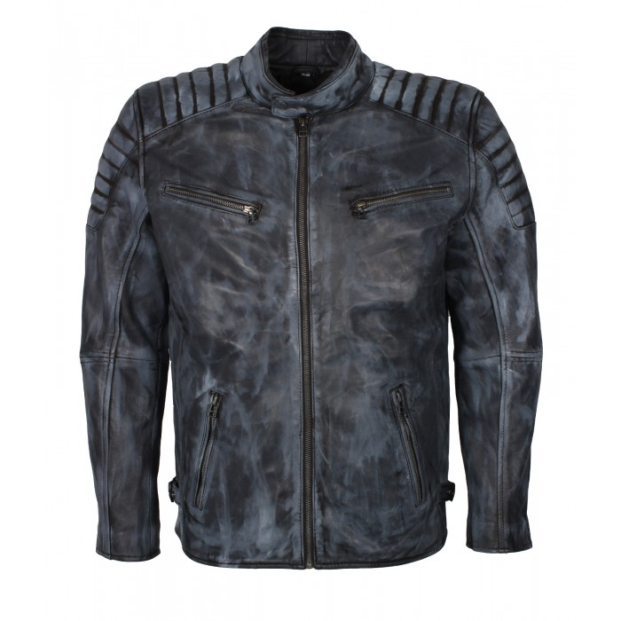 Men's Blue Denim Look Waxed Sheepskin Moto Fashion Leather Jacket