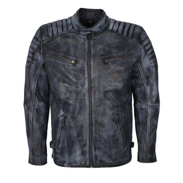 Men's Blue Denim Look Waxed Sheepskin Moto Fashion Leather Jacket