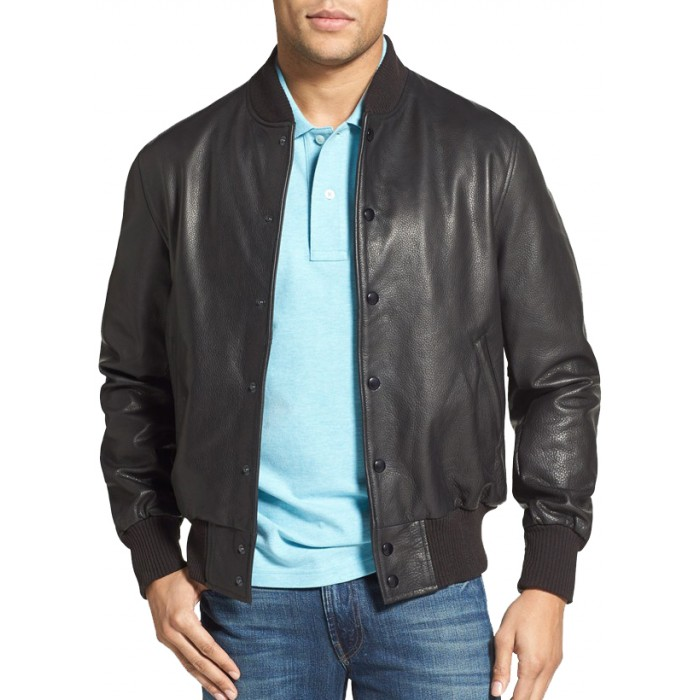 Men's Natural Cowhide Bomber Leather Jacket Buttoned