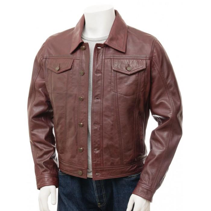 Men's Burgundy Sheepskin Trucker Jeans Leather Jacket