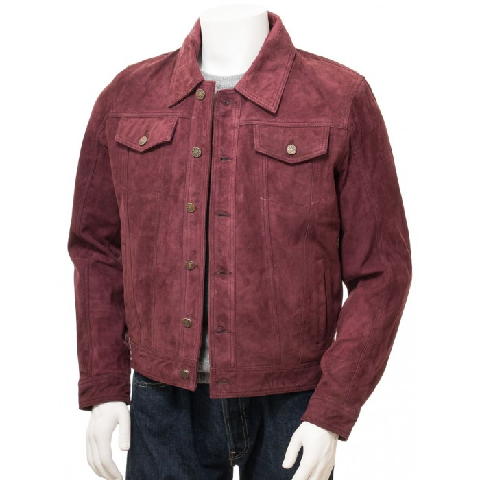 Men's Burgundy Suede Trucker Jeans Jacket