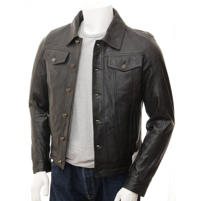 Men's Black Leather Denim Jeans style Waxed sheep aniline leather Jacket