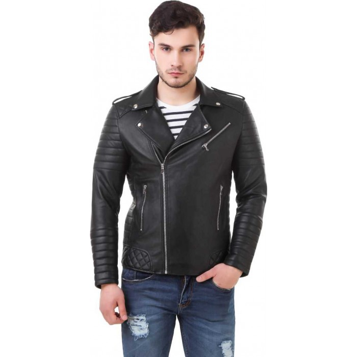 Men's Diamond Quilted Moto Fashion Biker Leather Jacket