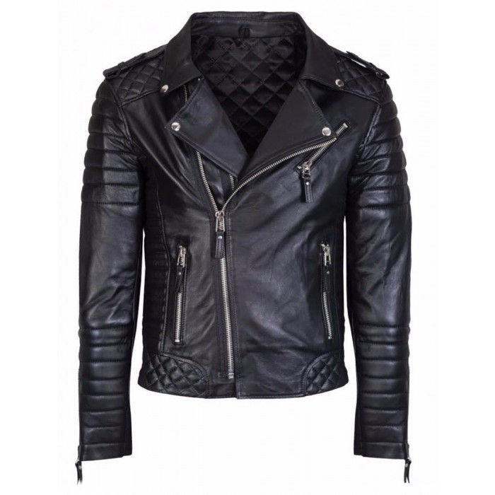 Men's Diamond Quilted Kay Michael Black Lambskin Slim Fit Biker Jacket