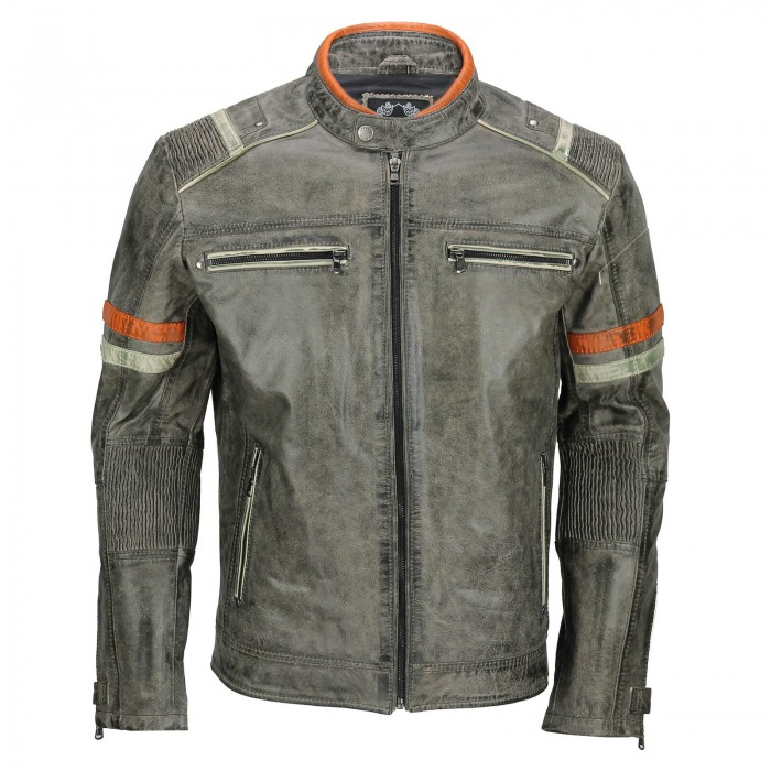 Men's Vintage Grey Sheepskin Distressed Retro Motorcycle Style Biker Leather Jacket