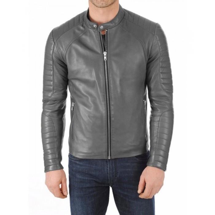 Men's Gray Lambskin Slimfit Moto Fashion Leather Jacket