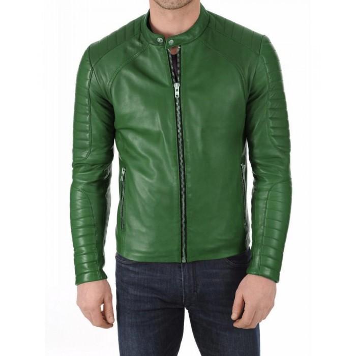 Men's Green Lambskin Slimfit Moto Fashion Leather Jacket