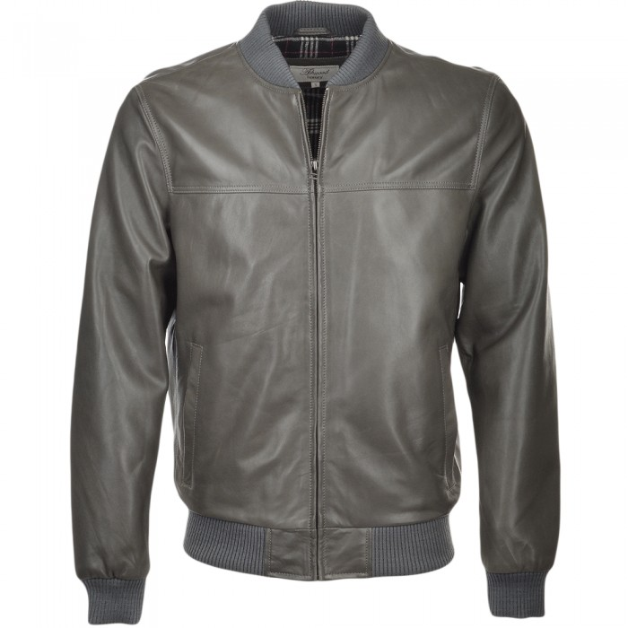 Men's Grey Lambskin Bomber Leather Jacket