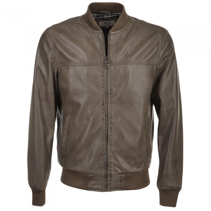 Men's Waxed Lambskin Bomber Leather Jacket Taupe
