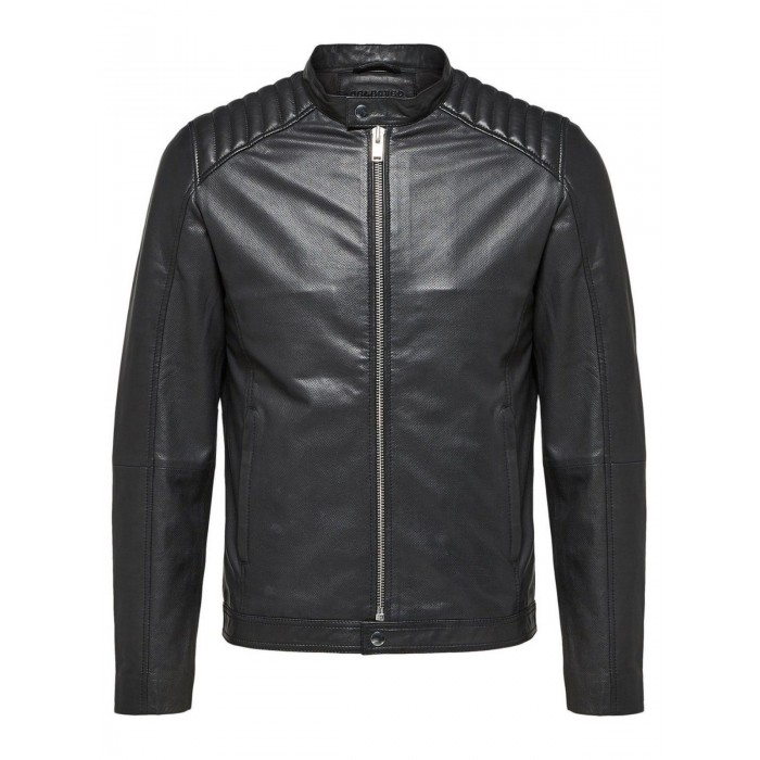 Men's Black Lambskin Slimfit Moto Fashion Leather Jacket