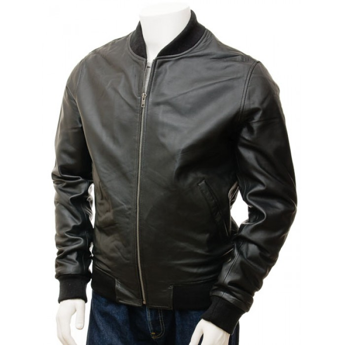 Men's Waxed Sheepskin Bomber Jacket