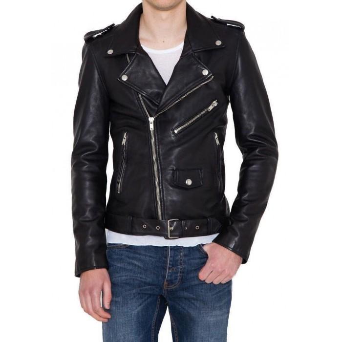 Men's Drummed Dyed Lambskin Biker Motorcycle Leather Jacket