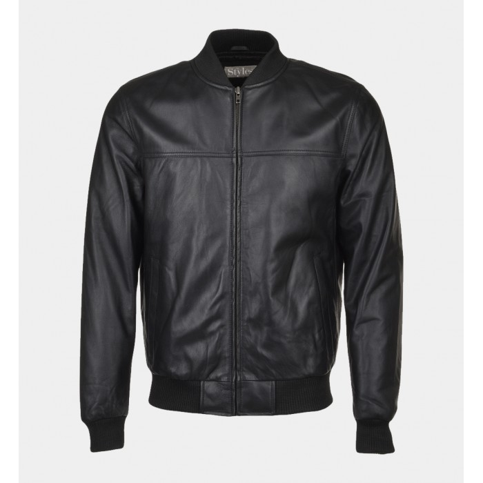 Men's Black Shiny Lamb Leather Bomber Jacket