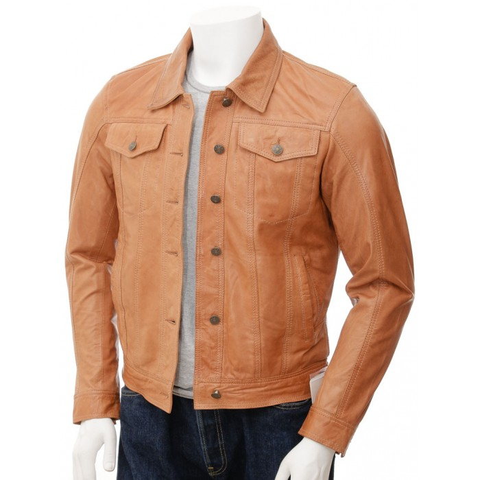 Men's Denim Jeans Style Tan Suede Trucker Leather Jacket