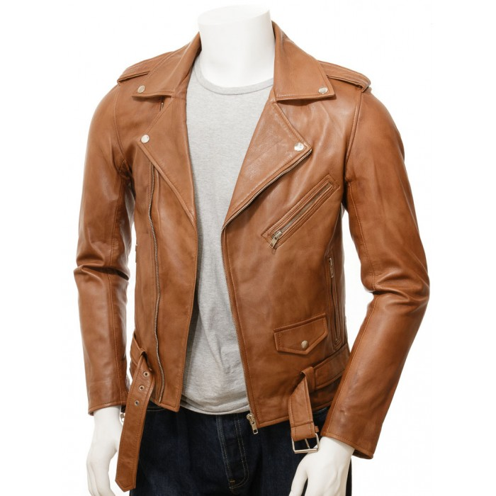 Men's Tan Sheepskin Motorcycle Biker Jacket
