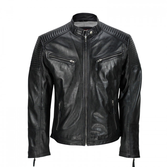 Men's Black Vintage Biker Style Waxed Sheep Skin Fashion Jacket