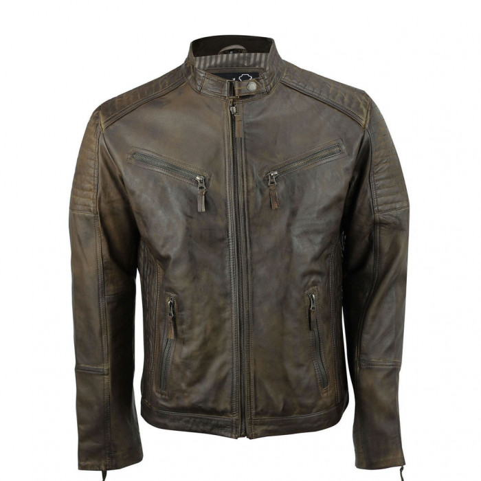 Men's Brown Vintage Biker Style Waxed Sheep Skin Fashion Jacket