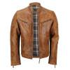 Men's Tan Vintage Biker Style Waxed Sheep Skin Fashion Jacket