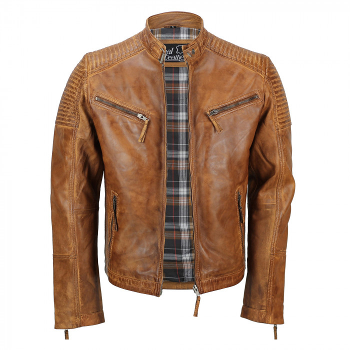 Men's Tan Vintage Biker Style Waxed Sheep Skin Fashion Jacket