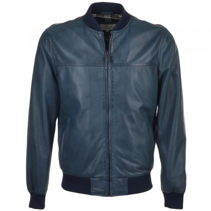 Men's Navy Waxed Bomber Leather Jacket