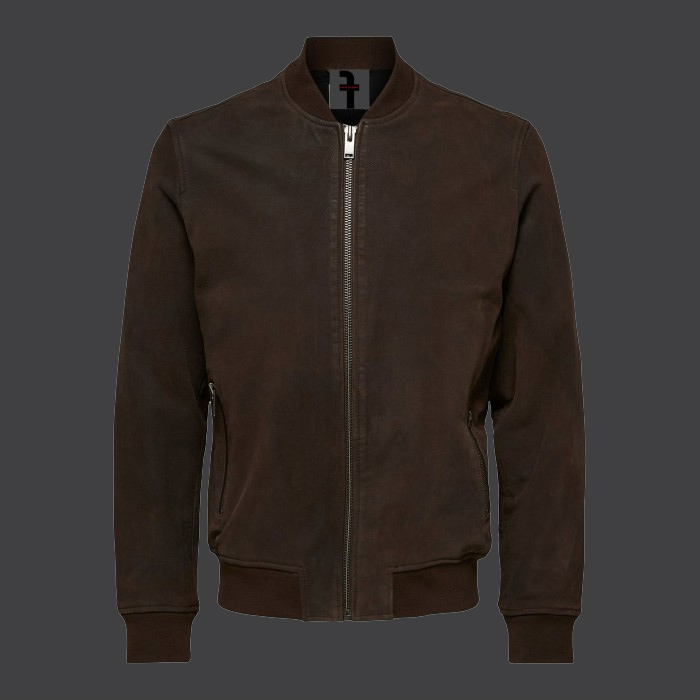 Men's Nubuck Bomber Leather Jacket